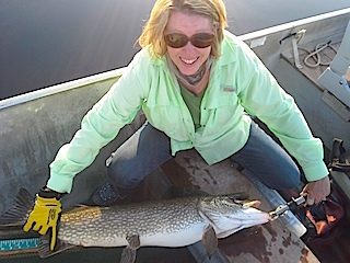 Pam with a 40-inch Northern Pike Fishing at Fireside Lodge